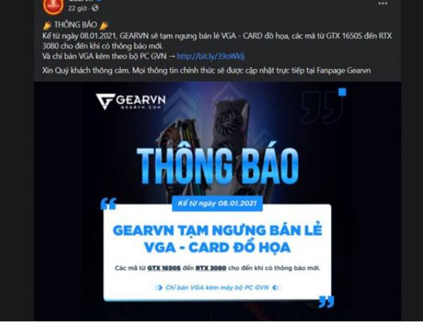 Card đồ họa NVIDIA khan hàng tại Việt Nam