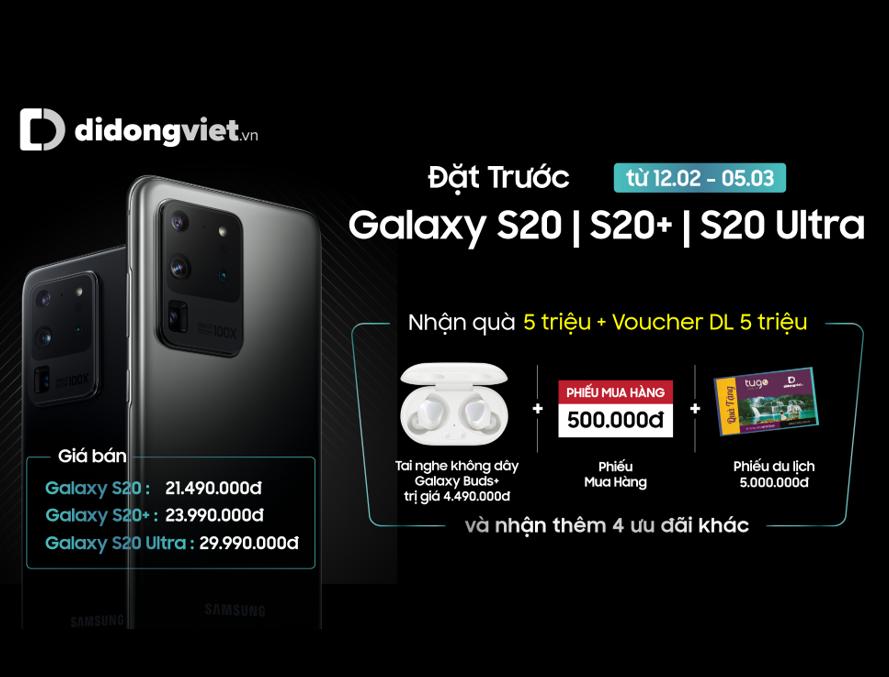 Đặt trước Galaxy S20 tại Di Động Việt, nhận quà tặng đến 10 triệu đồng