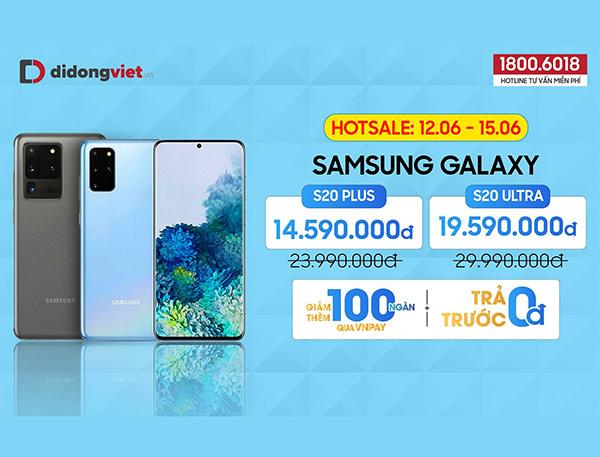 Samsung Galaxy S20 Plus/ S20 Ultra giảm đến 10,4 triệu đồng tại hệ thống Di Động Việt