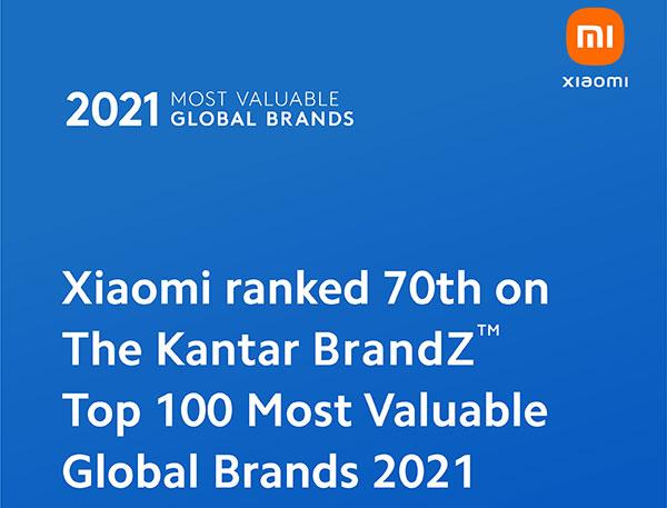 Top 100 Thương hiệu Giá trị nhất Thế giới 2021, Xiaomi xếp thứ 70